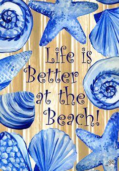 Custom Decor Flag - Life Is Better at the Beach Decorative Flag at Garden House at GardenHouseFlags