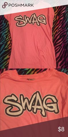 SWAG TEE • SIZE LARGE.                                                          • WORN TWICE.                                                        • Neon Pink Tops Tees - Short Sleeve