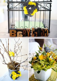 Idea for Frances' Yellow and Gray bird themed shower