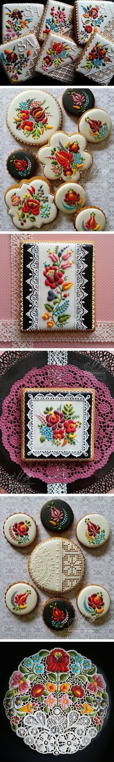 russian-ukraine style decorations on cookies, look like traditional embroidery