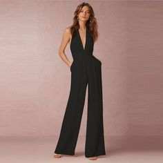 613a567b2366 Backless v neck halter wide leg combinaison femme jumpsuit Woman elegant  combinationliilgal Backless Jumpsuit