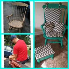 DIY Spray paint rocking chair and stool