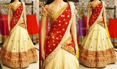 Golden Beige Half Saree                                                                                                                                                     More