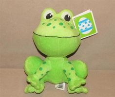 "Walmart Green Frog Big Head Eyes Polka Dot Plush Stuffed Animal Sitting 9"" Doll #Walmart"