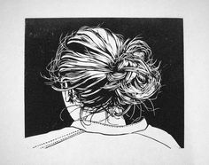"""knotje"" - Hair bun, linocut, offset black on Japanese paper by Marten Hazelaar Art And Illustration, Linocut Prints, Art Prints, Block Prints, Linoprint, Monochrom, Tampons, Woodblock Print, Art Studios"
