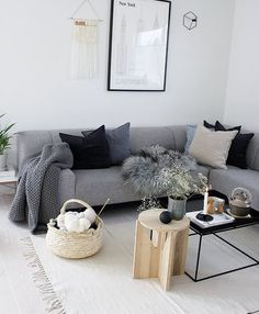 Home living room, living room grey, living room designs, living room decor, Small Living Room Table, Living Room Grey, Home Living Room, Living Room Designs, Living Room Decor, Black White And Grey Living Room, Grey Couch Decor, Grey Couches, Living Room Inspiration