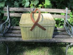 Hey, I found this really awesome Etsy listing at https://www.etsy.com/listing/467029931/tin-picnic-basket-wood-handles-1950s