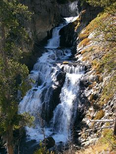 Mystic Falls Trail, Yellowstone National Park, Wyoming with map