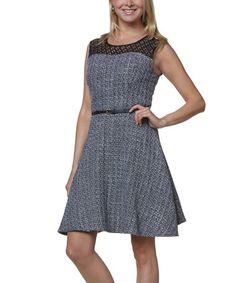 Look what I found on #zulily! Black & White Tweed Fit & Flare Dress #zulilyfinds