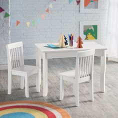 Lipper Mystic Table and Chair Set - White - Activity Tables at Hayneedle