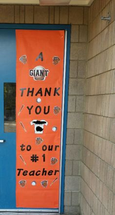 Teacher appreciation Giants theme door.