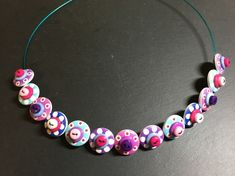 Button Necklace Spotted Wooden Choker  Pink Purple Aqua £12.50