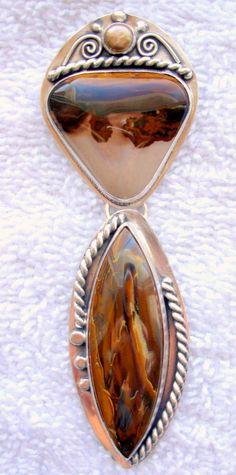 Chelle' Rawlsky pearl, coffee bean jasper, koroit opal sterling silver pendant #ChelleRawlsky #pendant