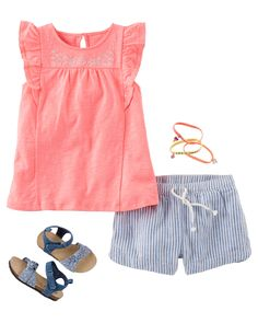 She's ready for vacay in an embroidered ruffle-sleeve tee and hickory stripe sun shorts. Psst... with tiny stars on charming chambray, these knot bow sandals are something special for catching summer sunsets.