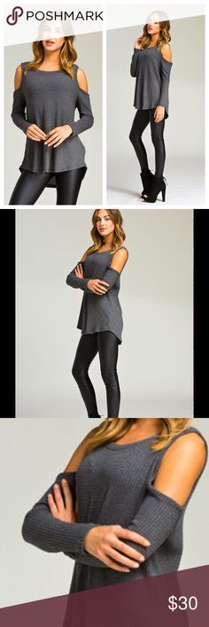 Cold shoulder on sleeves top Loose fit, round neck, long sleeve top. Cold shoulder on sleeves. Rounded hems. This top is made with heavyweight thermal knit fabric that is very soft, drapes beautifully and stretches well. Fabric 64% Polyester, 34% Rayon, 2% Spandex Made in U.S.A Tops Tees - Long Sleeve