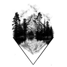 Wolf Tattoo Design, Tattoo Design Drawings, Tattoo Designs Men, Geometric Mountain Tattoo, Mountain Range Tattoo, Mountain Sleeve Tattoo, Geometric Tattoo Nature, Natur Tattoo Arm, Natur Tattoos