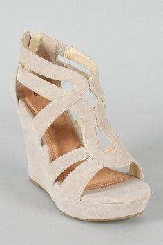 Women's Fashion Shoes Open Toe Wedge sandals in Cream White #wedges #shoes #fashion