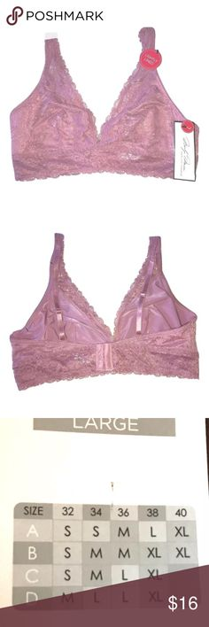 Marilyn Monroe Lace Bralette NEW Marilyn Monroe Lace Bralette Mesa Rose Color SIZE Large  MSRP on tag is $36 I try my very best to capture the correct color/shade. The actual shade may vary in person. On the tag the color is called Mesa Rose and looks like a dusty rose color. •Lace cups, unpadded, thin lining, as not to be see through •Adjustable straps •Three hook back closure •Size Large •90% Nylon, 10%Spandex  Thank you so much! Marilyn Monroe Intimates & Sleepwear Bras