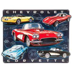 Chevrolet Corvette Car Collage Embossed Tin Sign⎜Open Road Brands