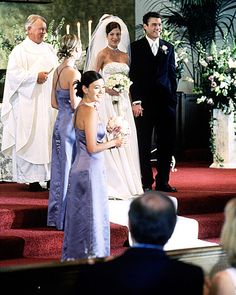 Beverly Hills, 90210's Donna Martin After ten years of breaking up and making up throughout high school and college, Donna Martin (Tori Spelling) and David Silver (Brian Austin Green) finally made it official in 2000. Donna wore a strapless design with a beaded bodice and a matching embellished choker.