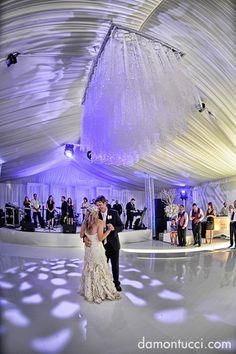 Tent wedding at the Waldorf Astoria in Orlando, Florida. Lighting by keventlighting.com. Photo by damontucci.com
