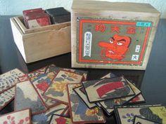 Vintage Oishi Tenguto  Japanese Hanafuda Playing Cards Rare Gold Tengu Game in Wood  Box. $48.00, via Etsy.