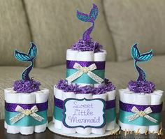 Little Mermaid Diaper Cake, Purple Teal Gold Under The Sea Seashell Baby  Shower Diaper Cake, Baby Shower Decor Centerpiece Gift, Set Of 3