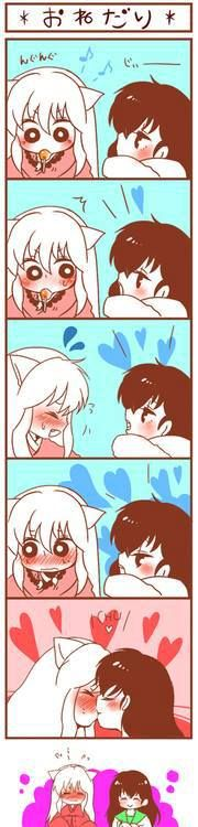 InuYasha and Kagome chibi kiss - InuYasha fan art, cute comic
