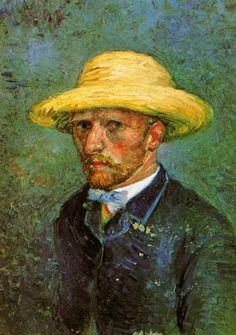 Self-Portrait with Straw Hat, 1887  Vincent van Gogh