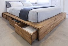 Fancy Bed Frame With Storage Bed Base Wood With Drawers Middle Collective Feel Some Warmth In regarding Fancy Bed Frame With Storage Platform Bed With Storage, Diy Platform Bed, Under Bed Storage, Storage Beds, Diy Storage, Storage Drawers, Diy Drawers, Storage Design, Bed Frame Storage