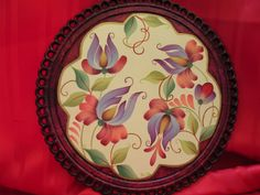 JACOBEAN FLORAL ROUND WOODEN PLAQUE by Jade Scarlett, via Flickr