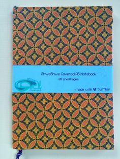 A5 Notebook, Lined Page, My Etsy Shop, African, Unique Jewelry, Handmade Gifts, Floral, Blue, Vintage