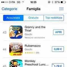 @granny_and_the_thief scala la #classifica nell'#appstore nella categoria #game #family per #iphone grazie a voi! Per chi non lo ha ancora scaricato potete farlo a questo link https://itunes.apple.com/it/app/granny-and-the-thief/id584865805?mt=8&affId=1507406&ign-mpt=uo%3D4