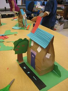 paper bag house (if no boxes), adapt for designing a community...use large grocery sacks for larger/public/municiple buildings
