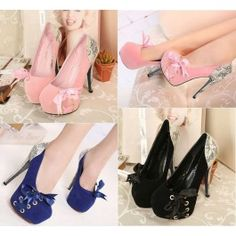 Lovely European Sexy Round Cap Toe Lace Up Super High Stiletto Pink Suede Pumps $17.63