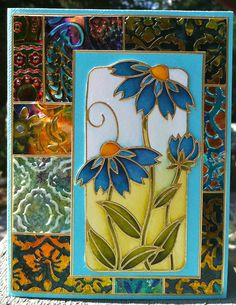 Card with a 'patchwork' background that I made with the Shimmer Sheetz. Flower is an ECD Peel Off sticker (nr 2534)