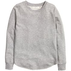 H&M Sweatshirt (€21) ❤ liked on Polyvore featuring tops, hoodies, sweatshirts, grey marl, grey sweat shirt, h&m tops, sweat tops, grey sweatshirt and grey long sleeve top