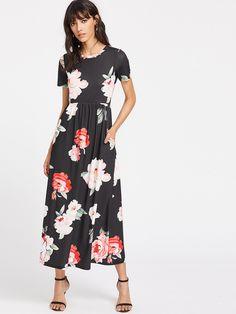 Flower Print Pocket Side High Waist Smock Dress -SheIn(Sheinside)
