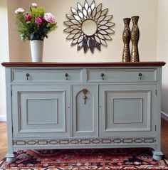 A stunning example of a solid oak Edwardian dresser that has been uniquely restyled to bring it up to date whilst still retaining its Period Color, Oak Sideboard, Summer Kitchen, Dark Wax, Lounge Ideas, Duck Egg Blue, Selling Antiques, Walnut Stain, Painted Furniture