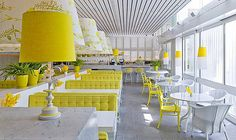 cafeteria interior design with some touches of yellow