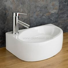 Cloakroom Countertop Basin Left Hand White Narrow Sink x Balsamo Countertop Basin, Basin Sink, Bathroom Basin, Small Bathroom, Countertops, Bathrooms, Cloakroom Sink, Oak Cabinets, Modern Spaces