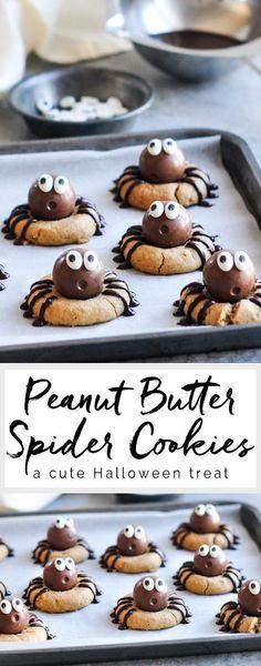 Peanut Butter Spider Cookies #peanutbutter #peanutbuttercookies #spidercookies #halloween #cookies #baking