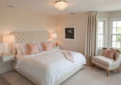 Pink and Beige Bedroom, Transitional, bedroom, Robyn Karp Interiors
