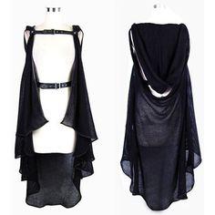 Black Hooded Gothic Fashion Sweater Poncho Scene Clothing Women SKU-11411064