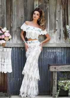 Sherri Hill 32230 Lace Off-Shoulder Crop Top Turquoise Stones ...