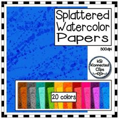 Splattered Watercolor Background Papers $