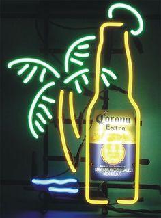 CORONA EXTRA BEER BOTTLE PALM TREE BEER BAR PUB NEON LIGHT SIGN