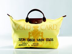 """Le Pliage """"Gold Card"""" - Collaboration with Jeremy Scott. Front view. Longchamp Collection FW 2008"""