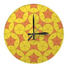 Penrose Sun Tile 2 Clock: This is the second of our Penrose tiling designs.  How many stars and pentagon patterns do you see?