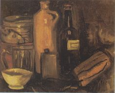 Vincent van Gogh - Still-life with earthenware, glass of beer and bottles, 1884